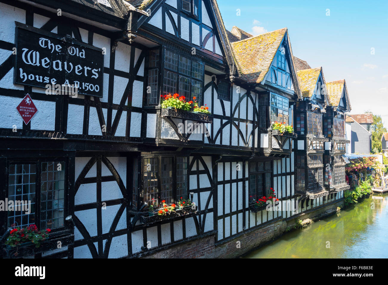 16th Century The Old Weavers' House Restaurant on River Stour, High Street, Canterbury, Kent, England, United - Stock Image