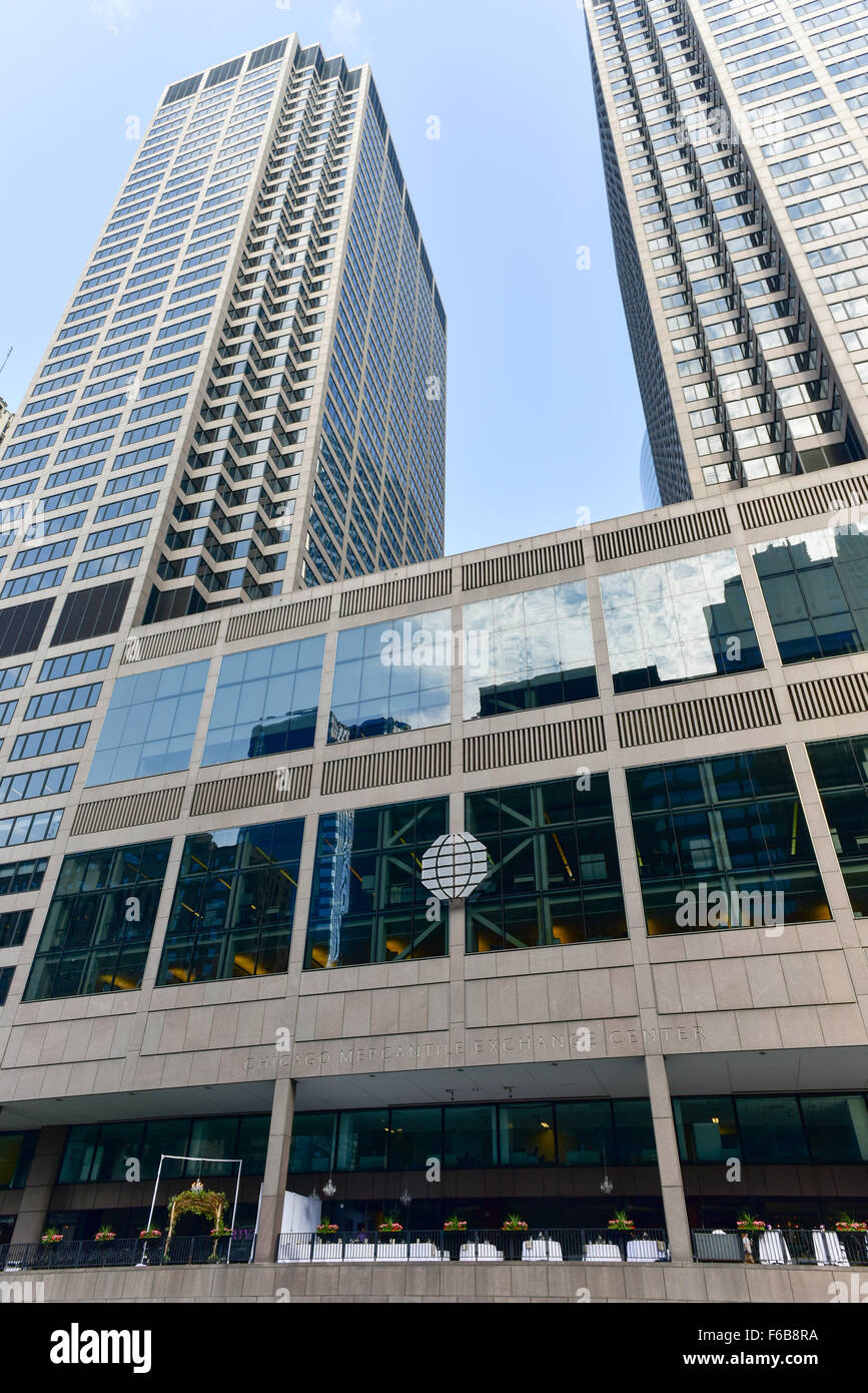 Chicago, Illinois - September 5, 2015: Chicago Mercantile Exchange Center is an office complex of two towers in Stock Photo