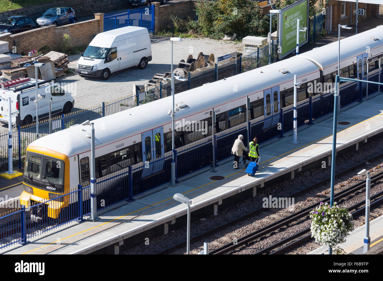 Train at platform, Gravesend Railway Station, Gravesend, Kent, England, United Kingdom Stock Photo