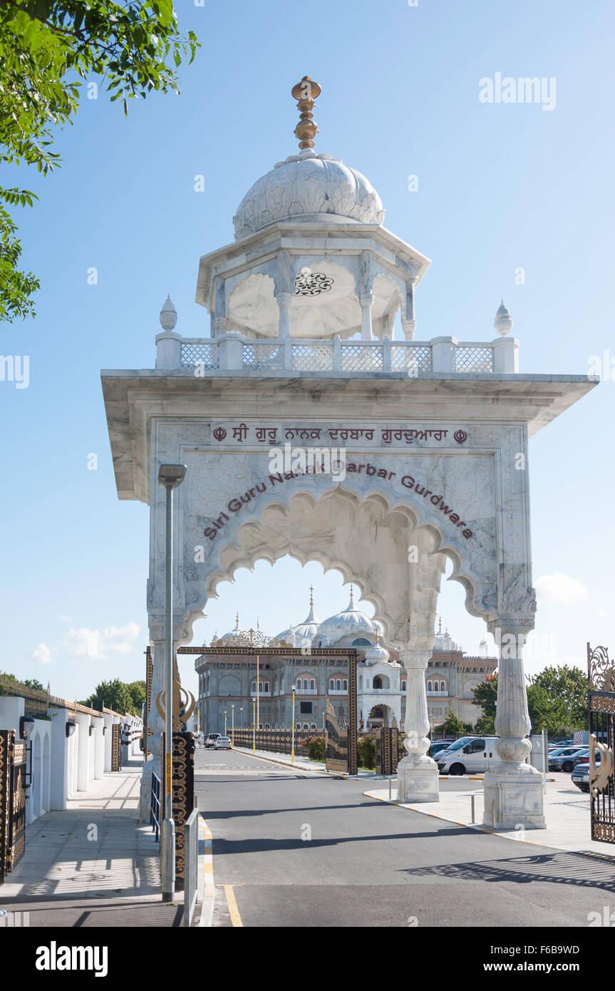 Entrance to Siri Guru Nanak Darbar Gurdwara Temple, Clarence Place, Gravesend, Kent, England, United Kingdom - Stock Image