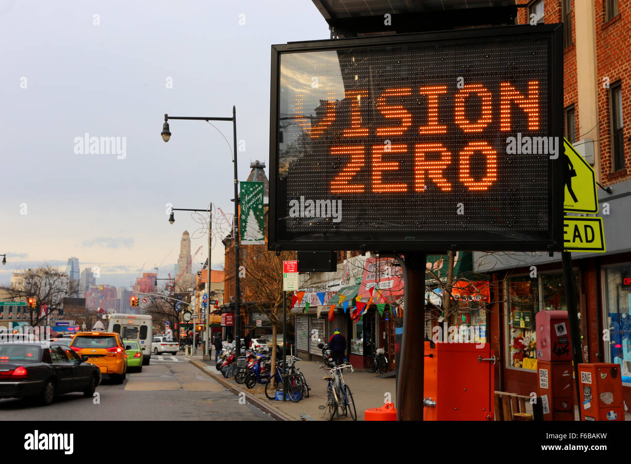 New York City's Vision Zero traffic safety project - Stock Image