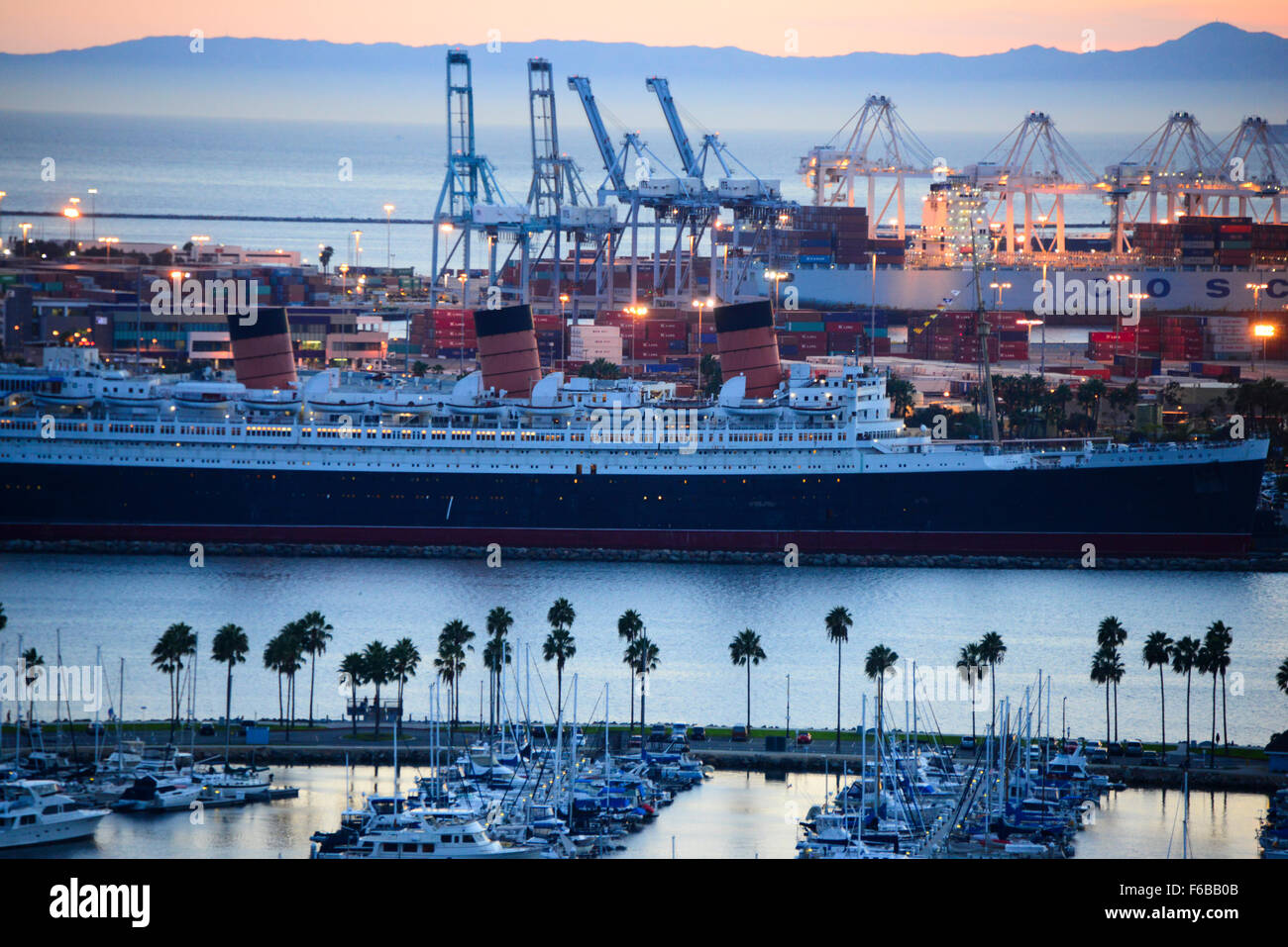 Queen Mary historic ocean liner in harbor at Long Beach Southern California USA - Stock Image