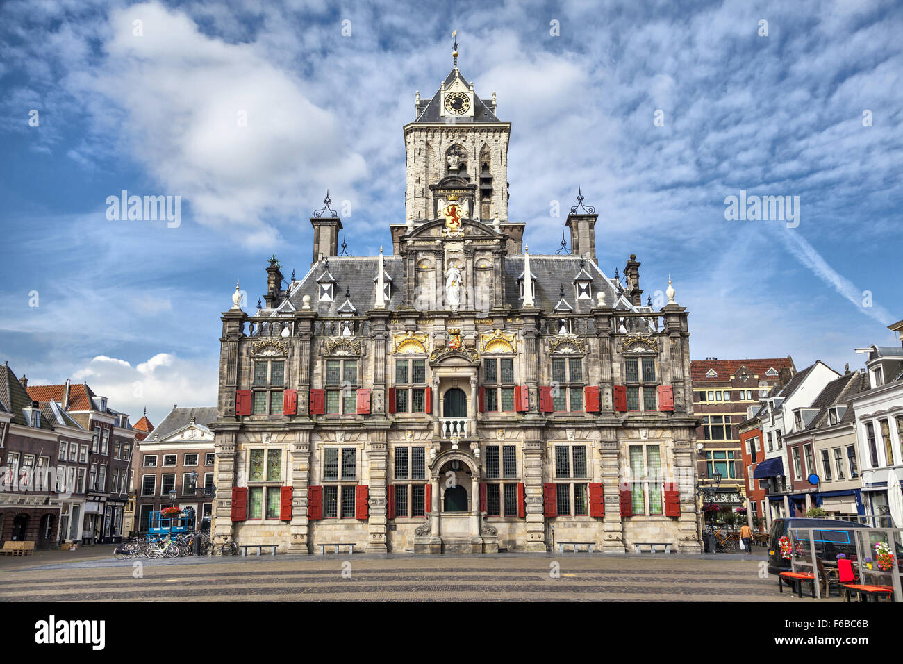 The Renaissance style facade of the Delft city hall building, the Netherlands. - Stock Image