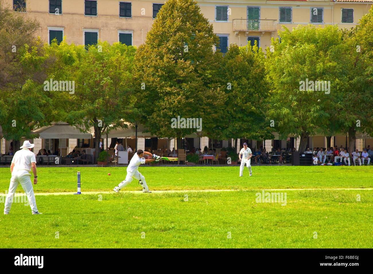 Game Of Cricket, Corfu Old Town, Corfu, The Ionian Islands, Greek Islands, Greece, Europe - Stock Image