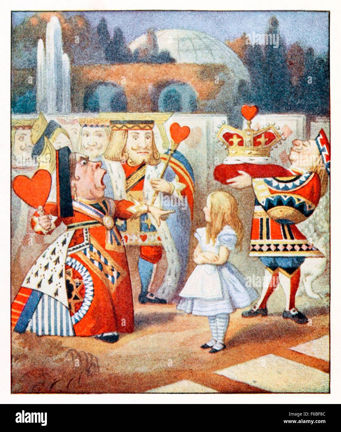 'Off with her head! Off with -' from 'Alice's Adventures in Wonderland'  by Lewis Carroll (1832 - Stock Image