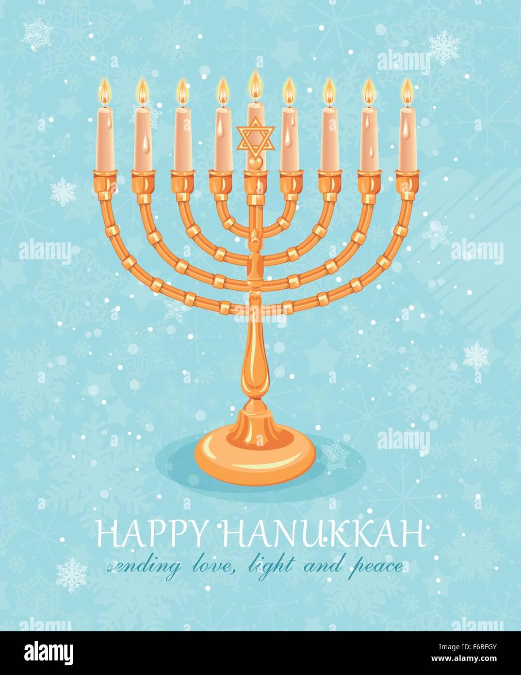 Happy Hanukkah greeting card design, jewish holiday. Vector illustration - Stock Vector