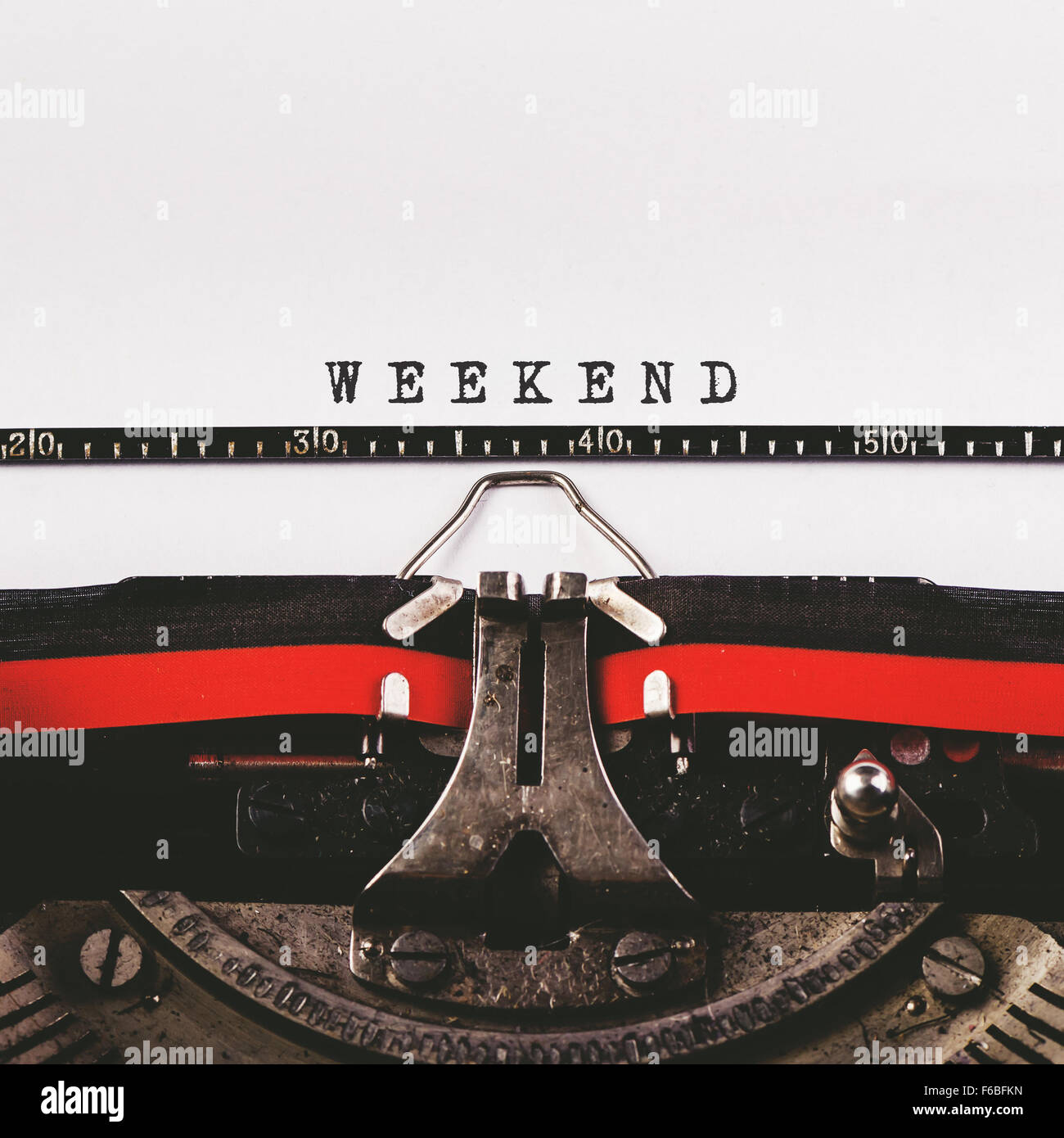 Weekend text on old typewriter, retro toned conceptual image - Stock Image