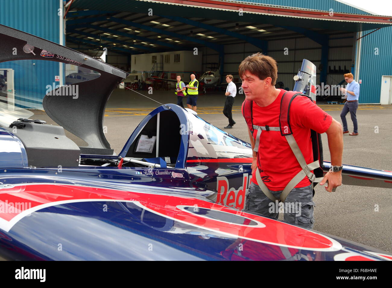 Kirby Chambliss at Wycombe Airpark preparing for the Red Bull Air Race at Ascot 2015 - Stock Image