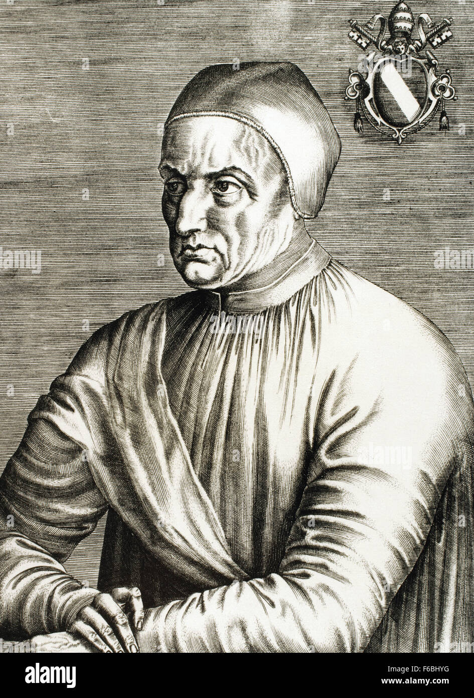 Pope Eugene IV (1383-1447). Born Gabriele Condulmer, was pope from 1431-1447. Portrait. Engraving. - Stock Image