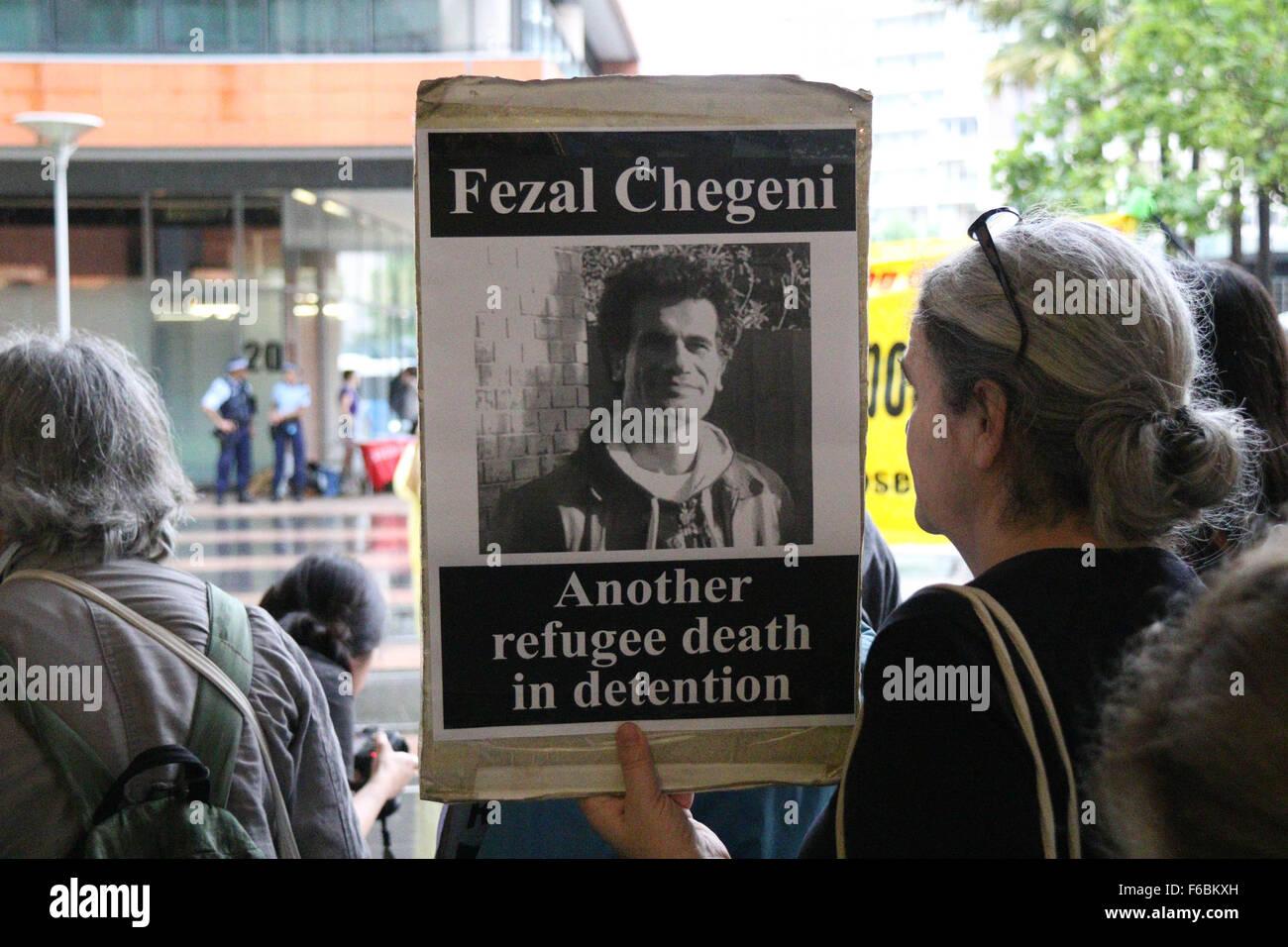 Rally for Iranian Kurdish refugee, Fazel Chegen in Sydney, Australia. 13 November 2015. - Stock Image