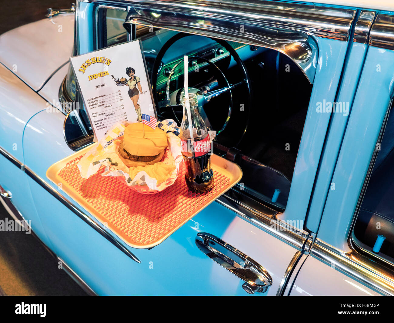1950's Chevrolet Bel-Air with tray of food clipped on the
