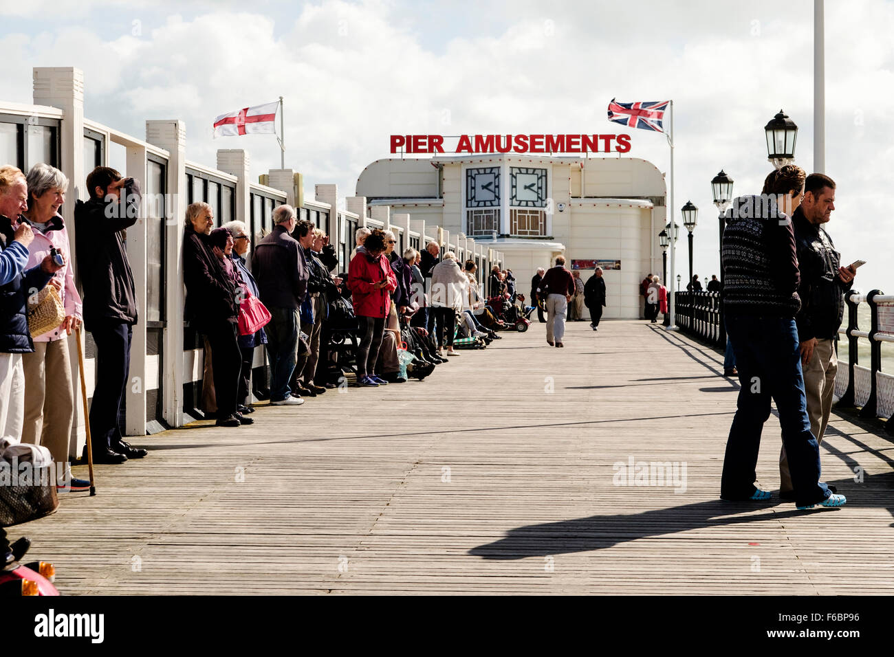 Battle of Britain: Historic flypast for 75th anniversary at Worthing, UK, 15/09/2015 :  People wait on Worthing - Stock Image