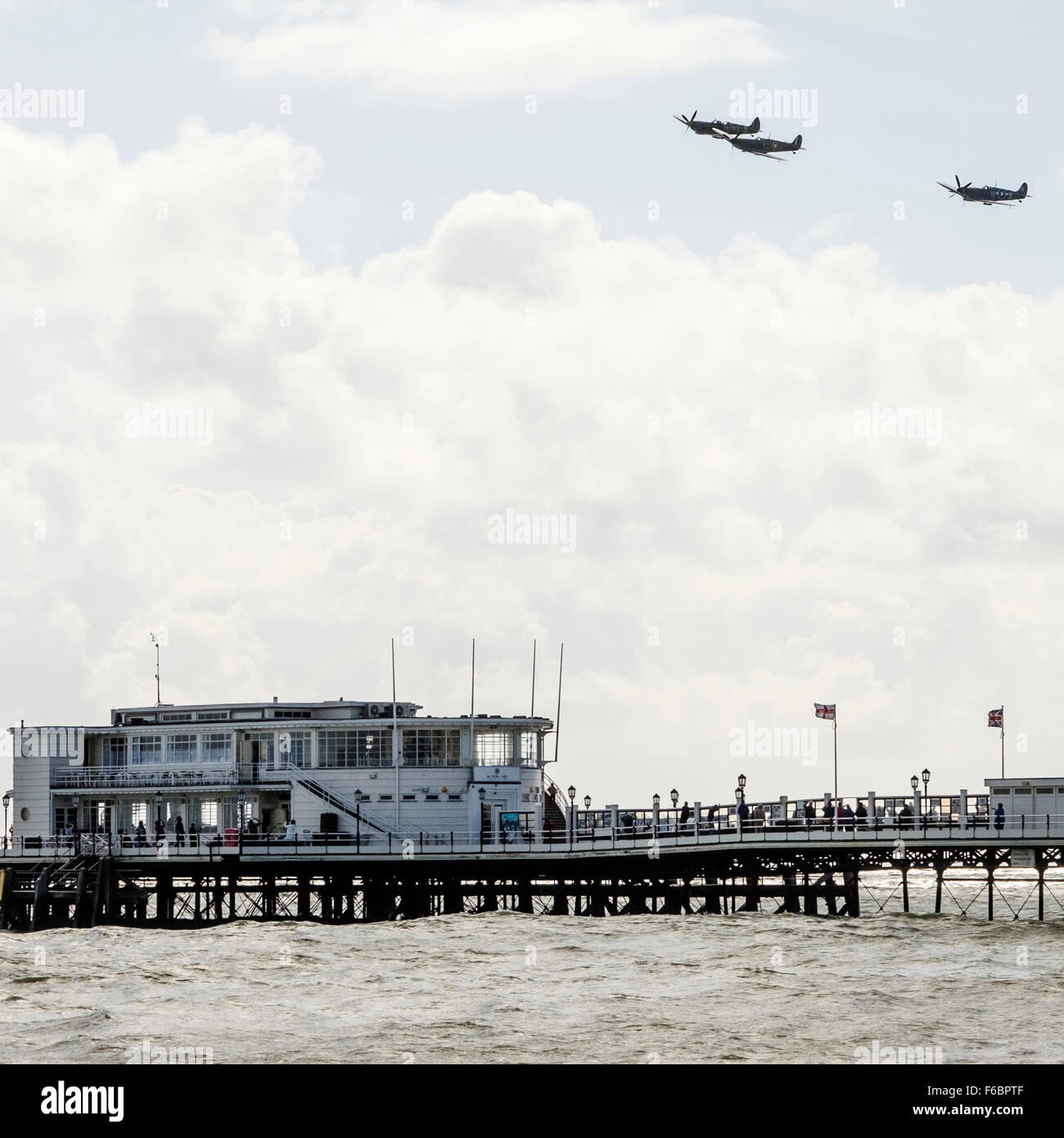 Battle of Britain: Historic flypast for 75th anniversary at Worthing, UK, 15/09/2015 :  A group of 3 Battle of Britain - Stock Image