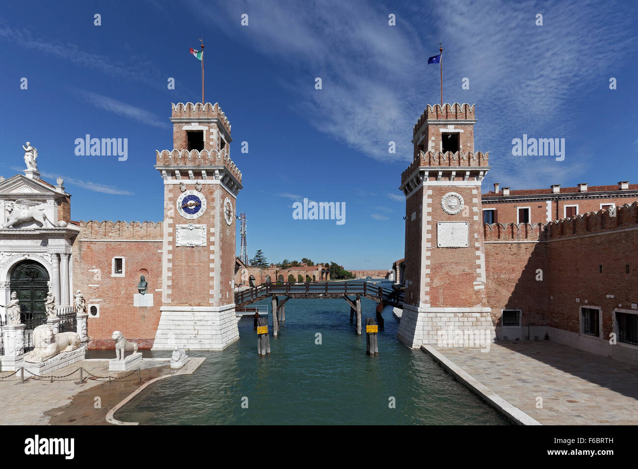 Arsenal water gate and towers, former naval base of Venetian Republic, Castello, Venice, Veneto, Italy - Stock Image