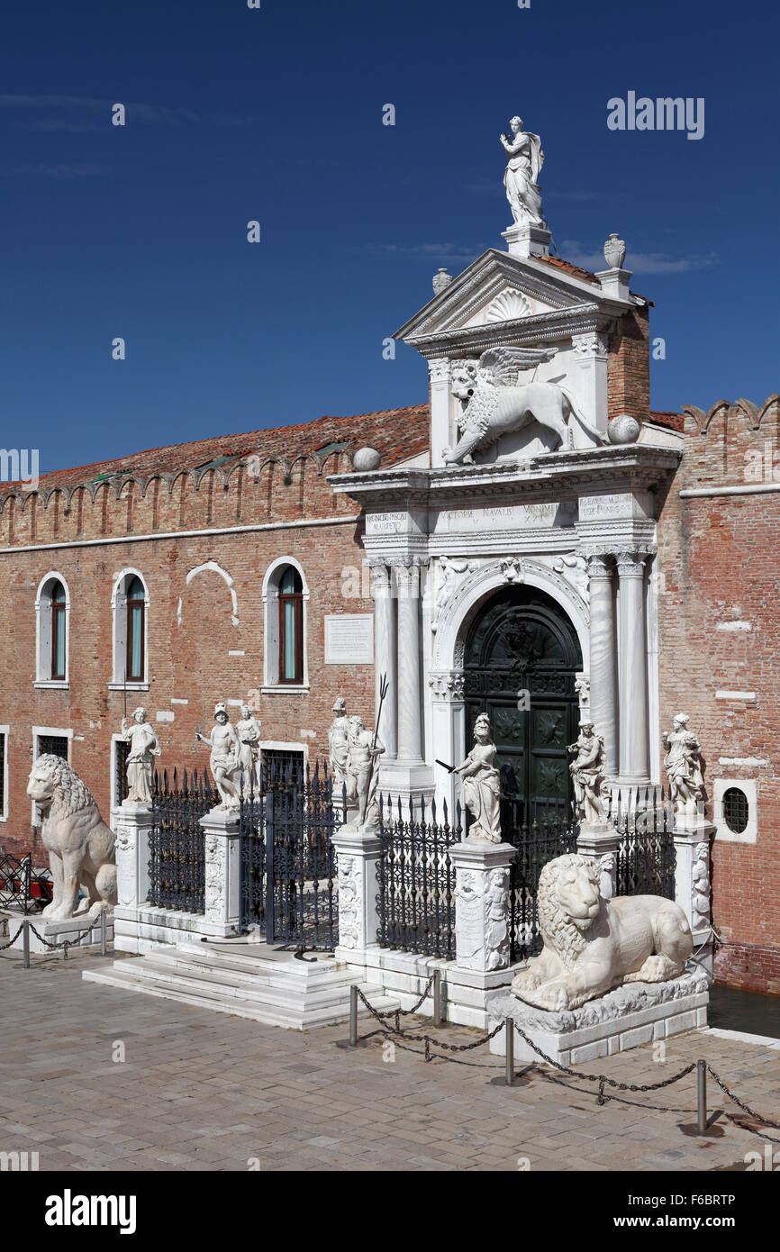 Arsenal gateway, former naval base of Venetian Republic, Castello, Venice, Veneto, Italy - Stock Image
