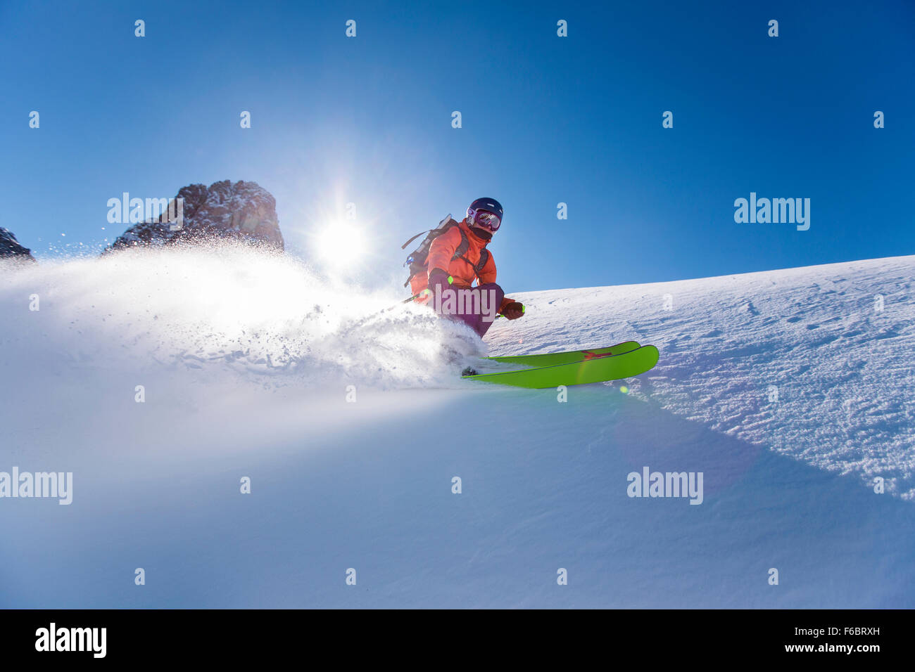 Freerider off-piste in deep snow, Muttereralmpark, Nockspitze (2403m) behind, North Tyrol, Austria - Stock Image