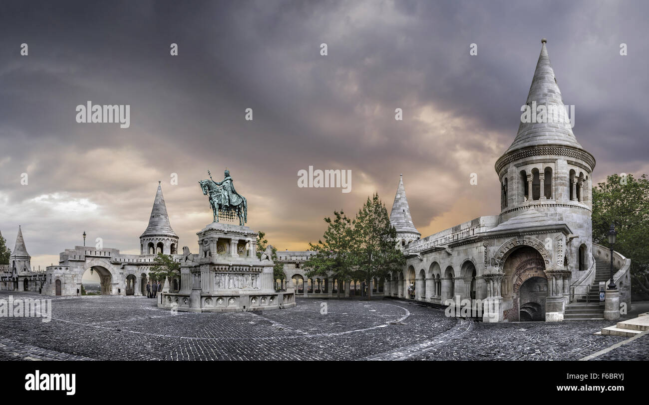 monument of Saint Stephen and Fisherman's Bastion, Budapest, Hungary, Europe - Stock Image