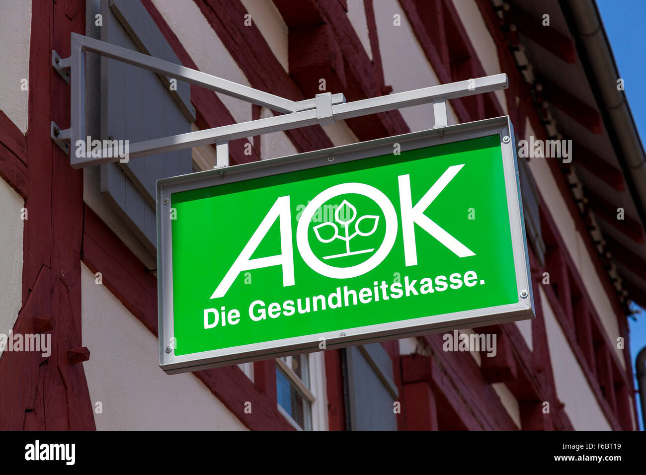 Sign, AOK, health insurance company, Germany - Stock Image