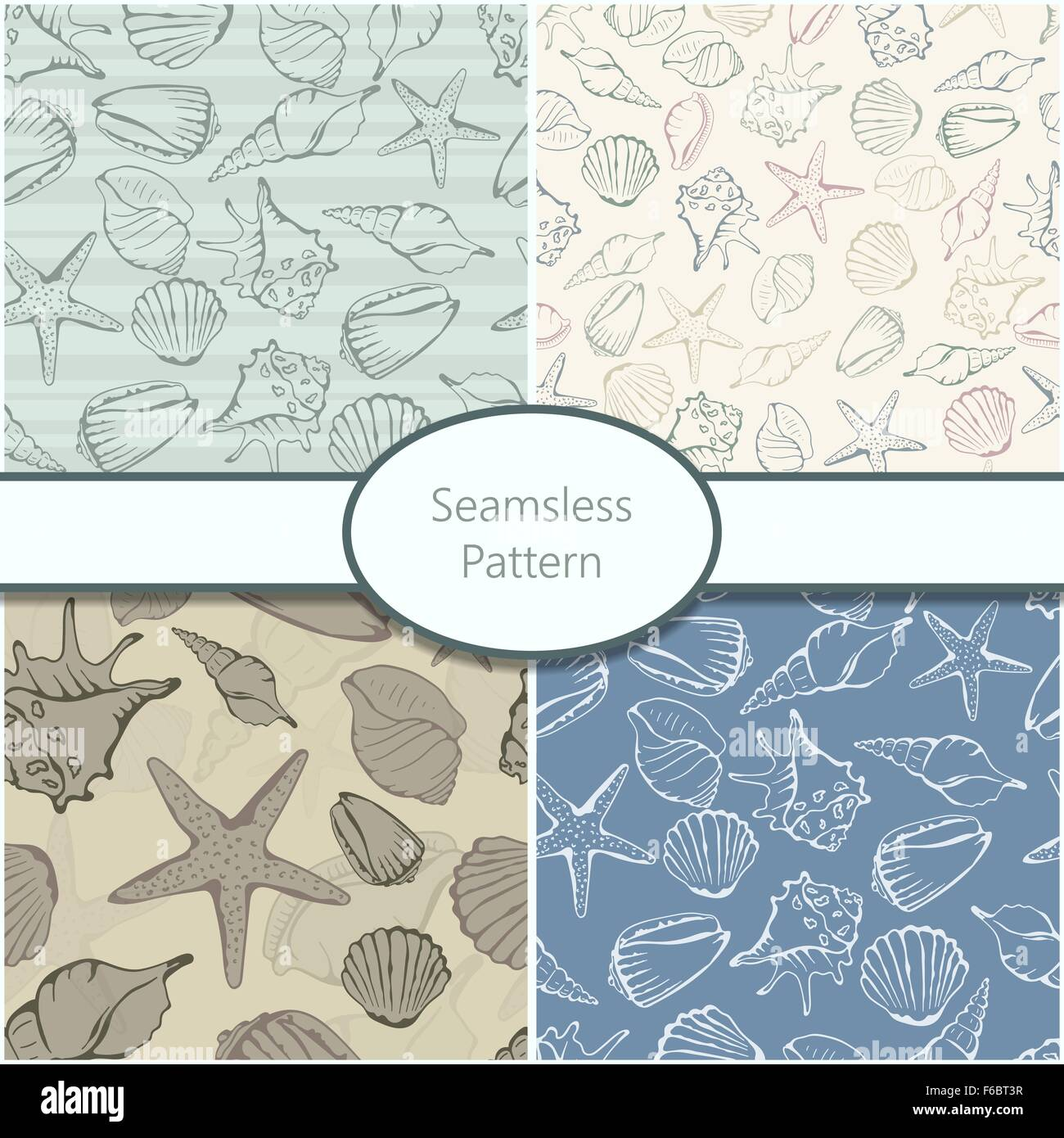Set of 4 seamless patterns with shells. Vector illustration. - Stock Vector