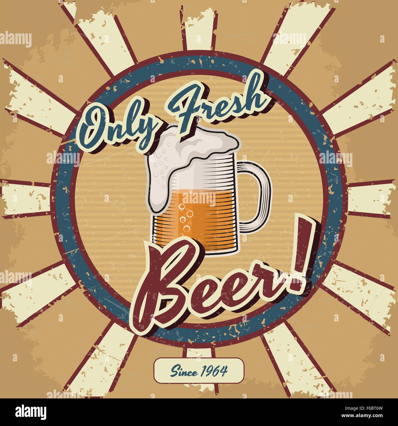 retro beer vector poster vintage poster template for fresh beer
