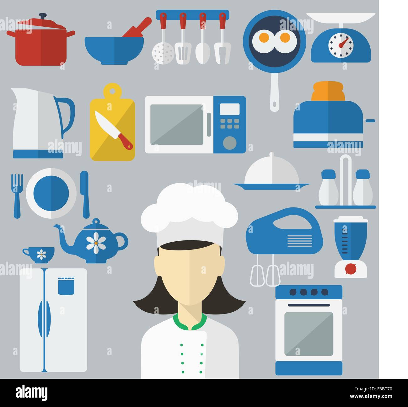 Flat design concept icons of kitchen utensils with a chef on banners. Cooking tools and kitchenware equipment, serve - Stock Vector