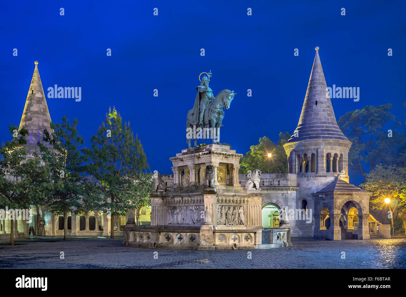 Hungary, Budapest, statue of the King St. Stephen at the Fishermen's Bastion. - Stock Image