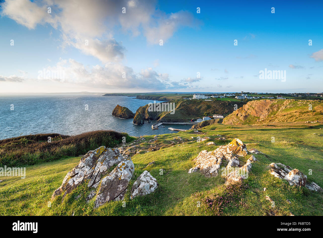 The South West Coast Path on cliffs above Mullion Cove on the Lizard in Cornwall - Stock Image