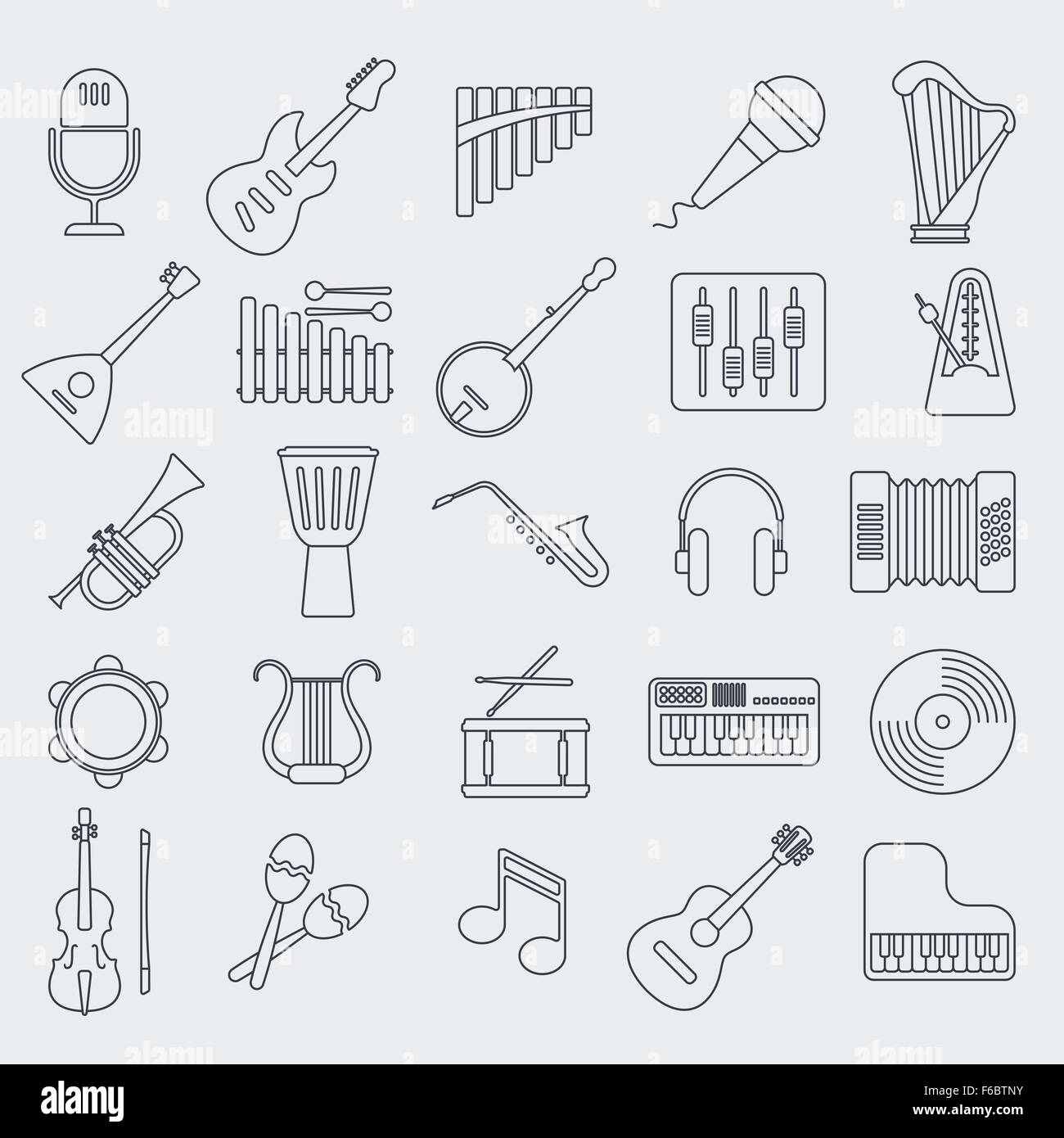 Musical instrument line vector icon. - Stock Image