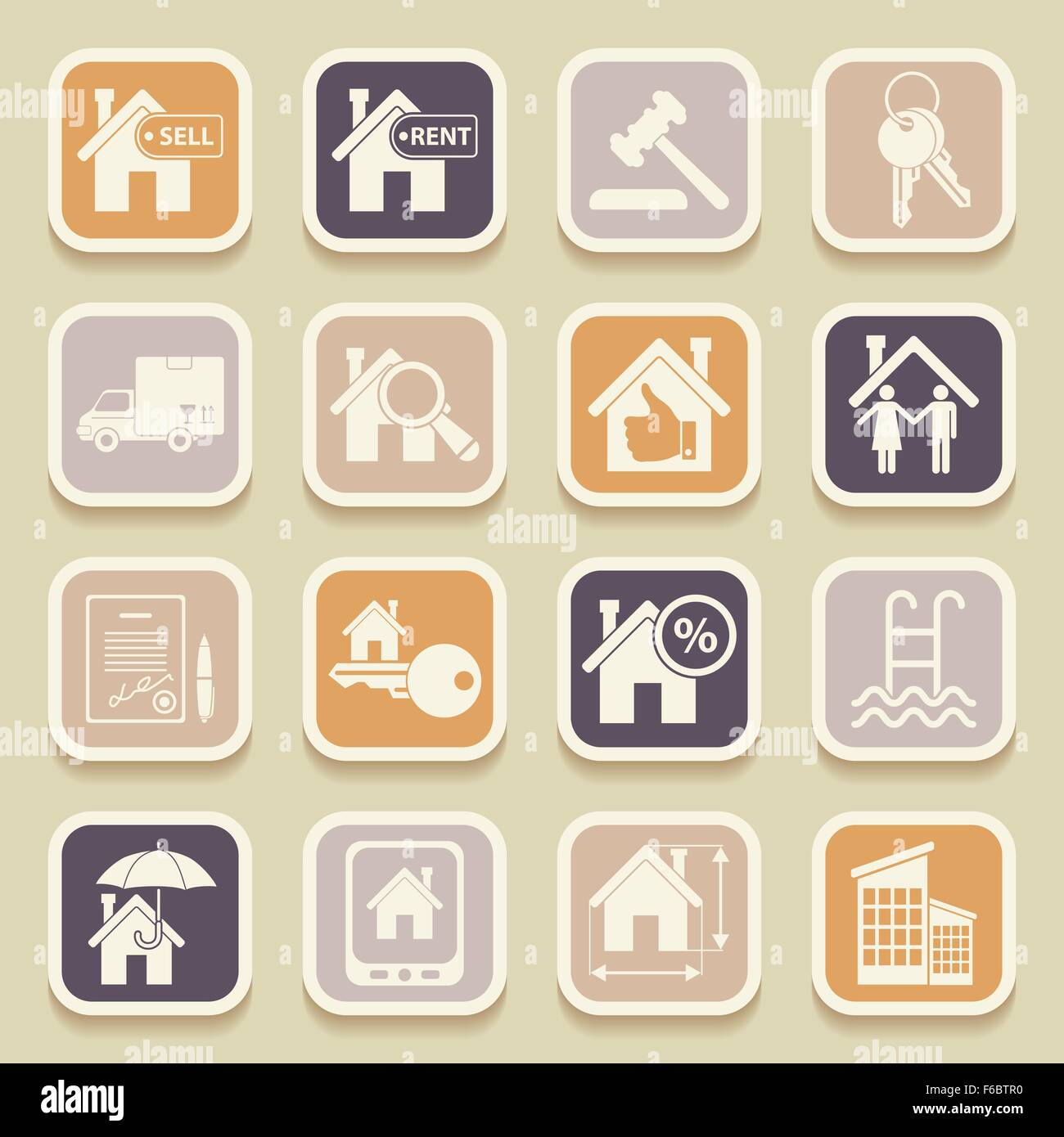 Real estate universal icons for web and mobile applications. Vector illustration Stock Vector