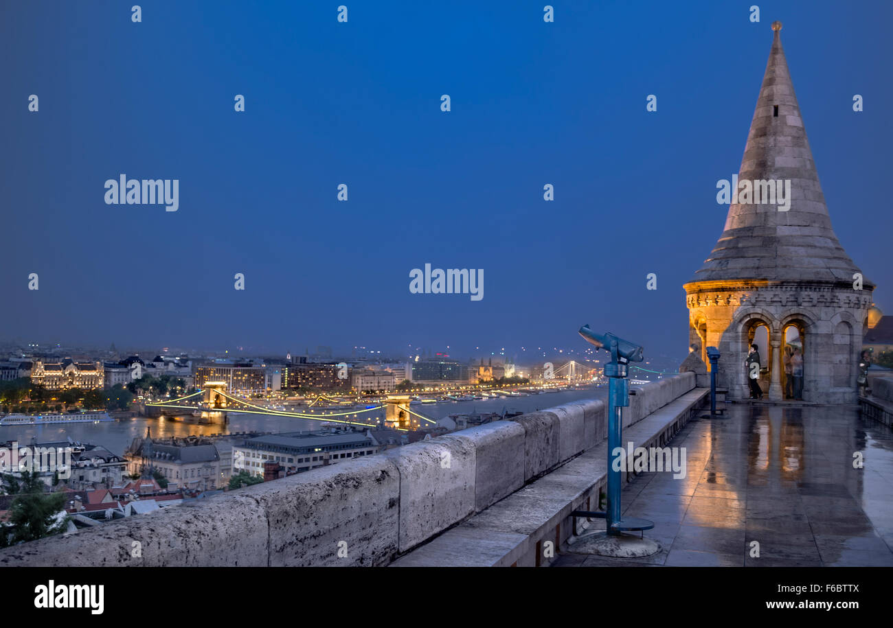 Hungary, Budapest, walls of Fisherman's Bastion - Stock Image