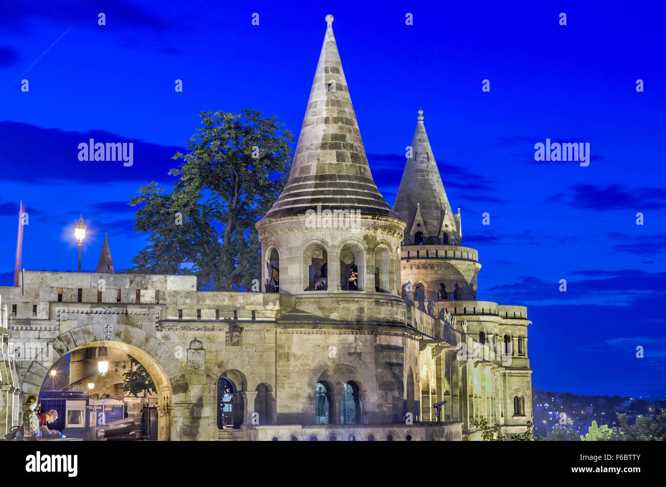 Hungary, Budapest. Fisherman's Bastion at dusk. - Stock Image