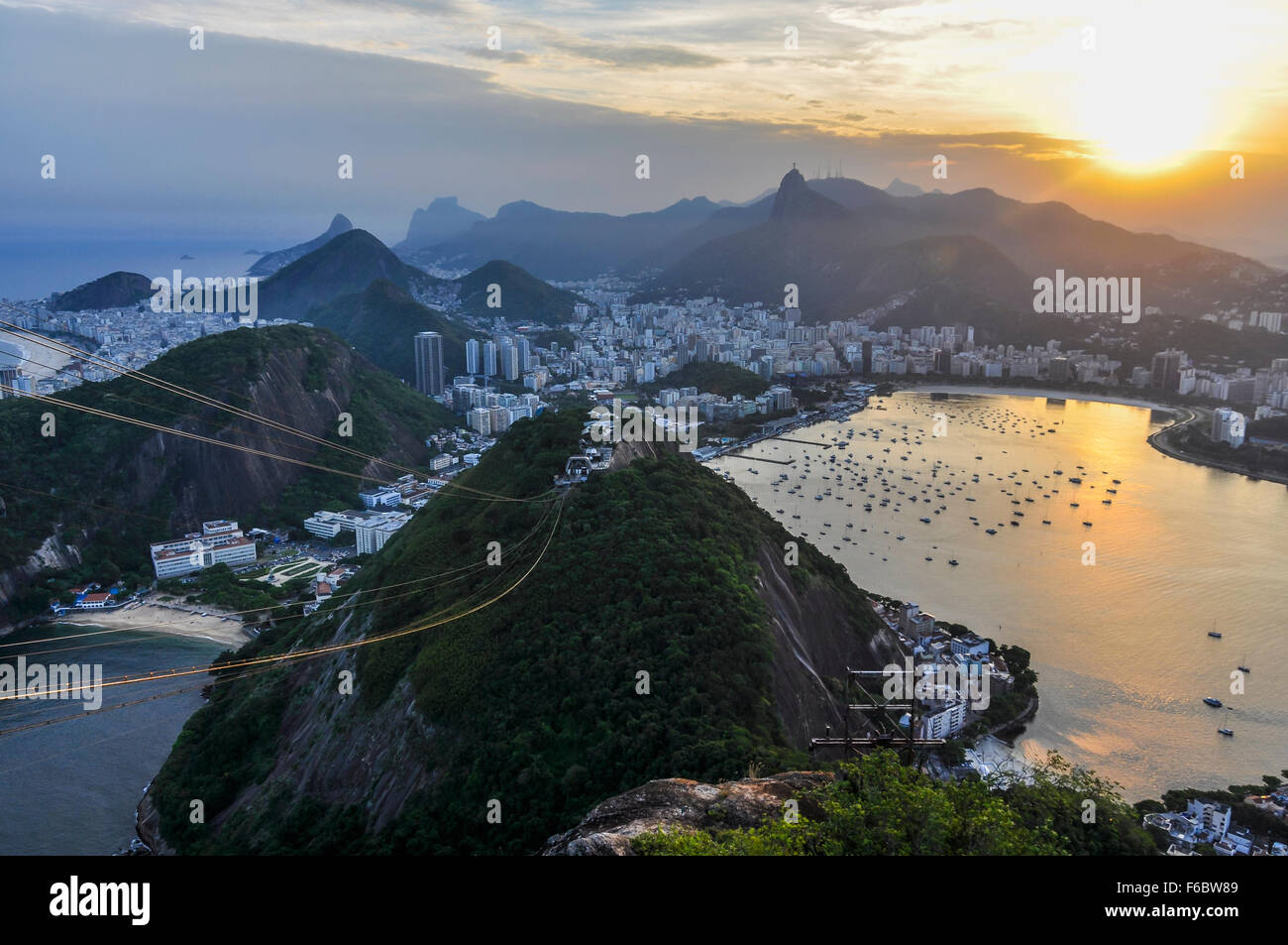Panoramic view of Rio de Janeiro at sunset from the Sugar Loaf Mountain, Brazil Stock Photo