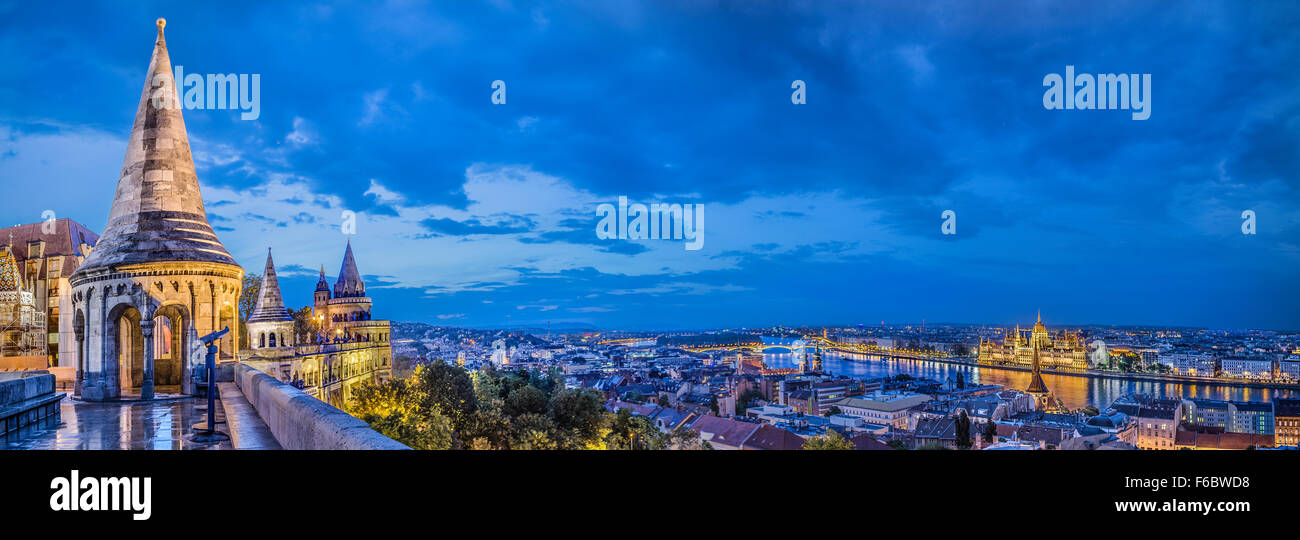 Panorama of Budapest from the Fisherman's Bastion - Stock Image