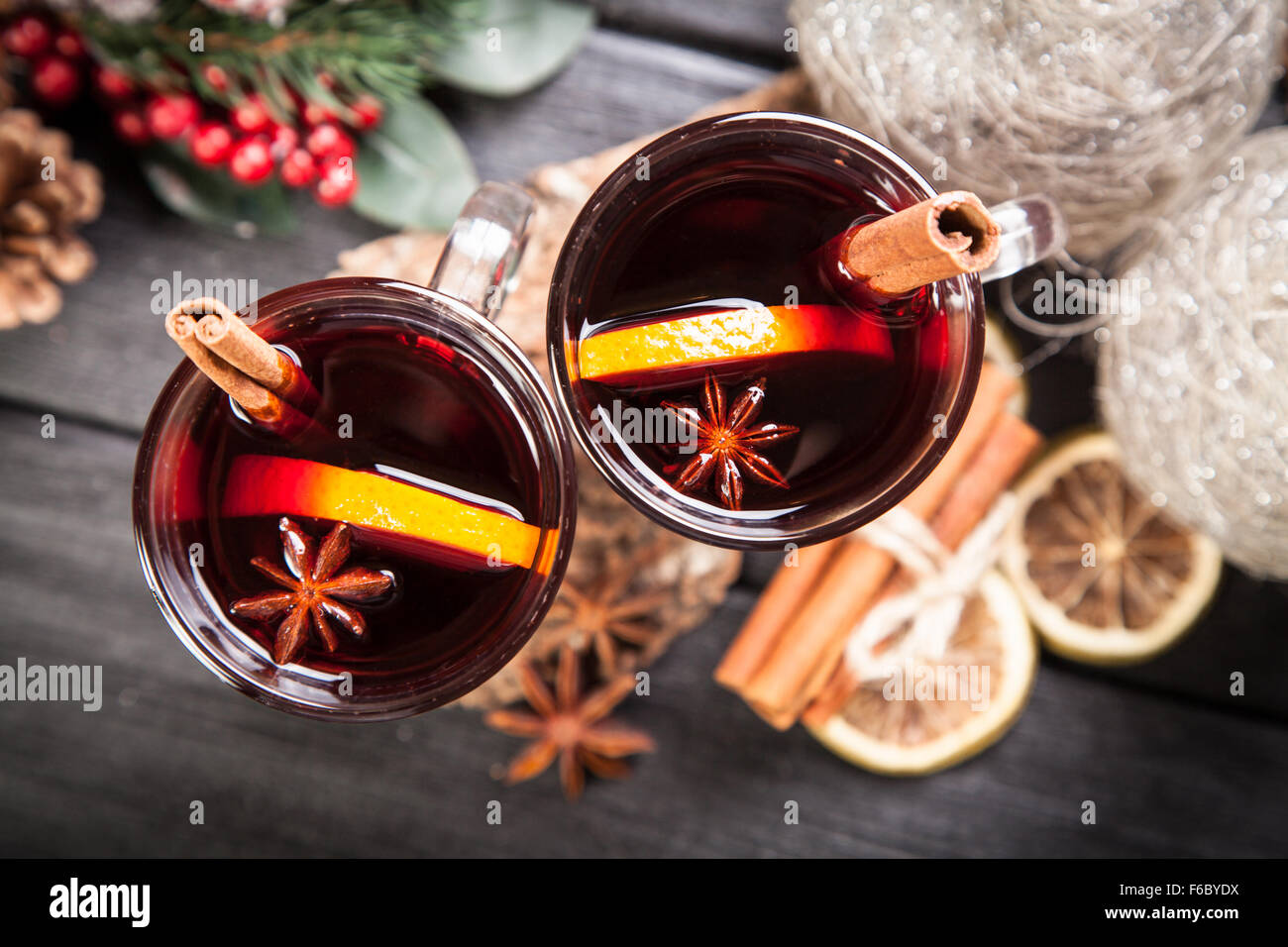 Mulled wine with cinnamon and orange - Stock Image