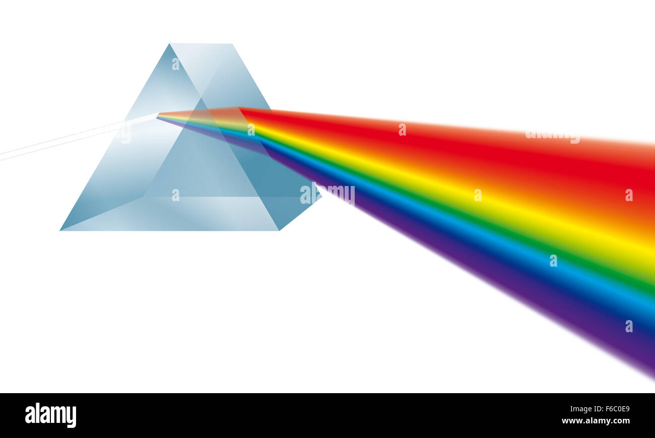 Triangular prism breaks white light ray into rainbow spectral colors. Illustration on white background. - Stock Image