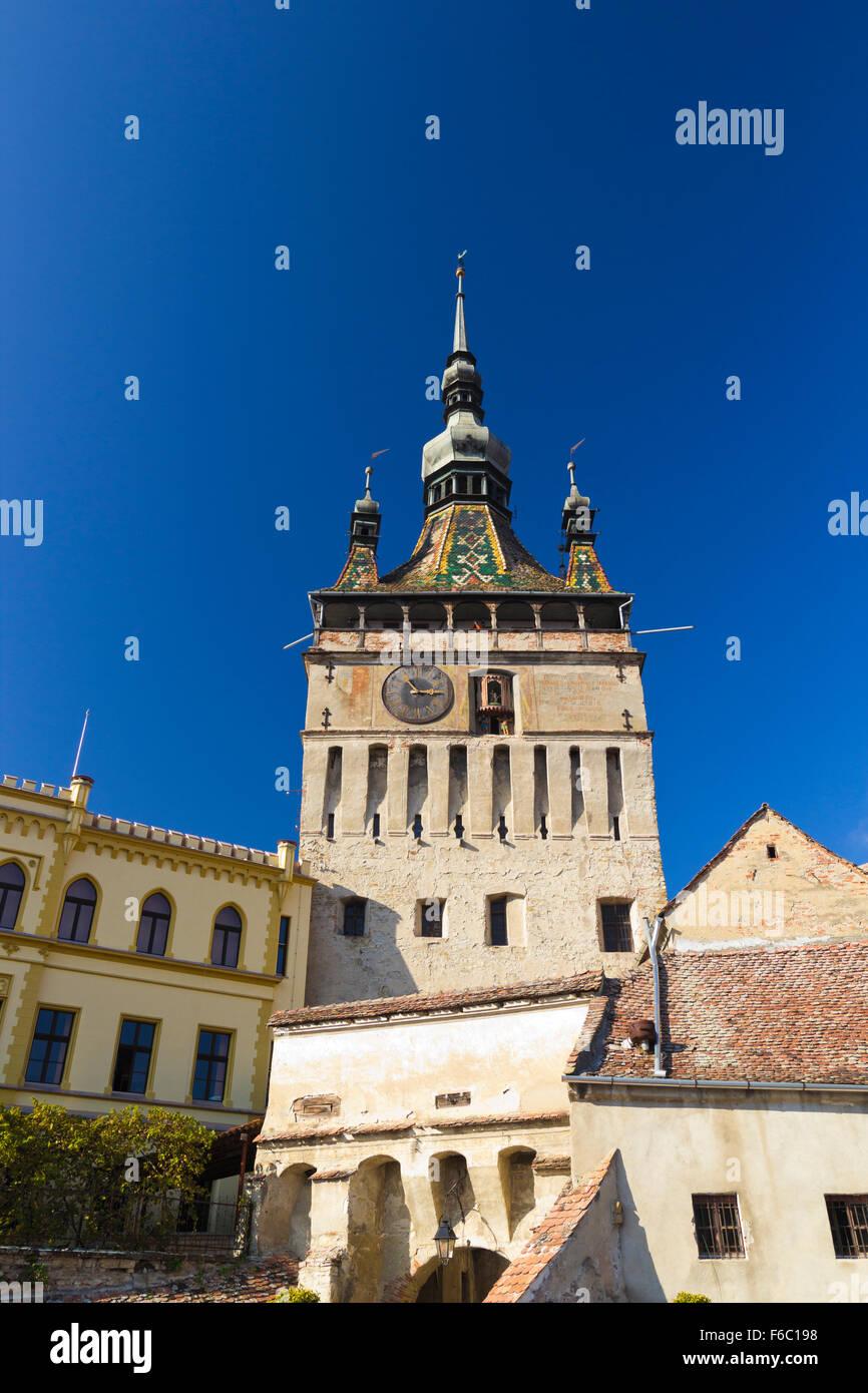 Image of the Clock Tower in Sighisoara, Transylvania Romania Stock Photo