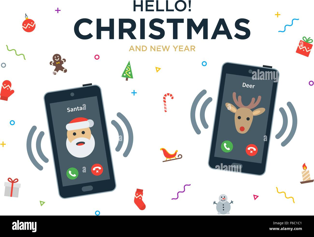 Christmas greeting card with phone call from santa claus and christmas greeting card with phone call from santa claus and reindeer m4hsunfo