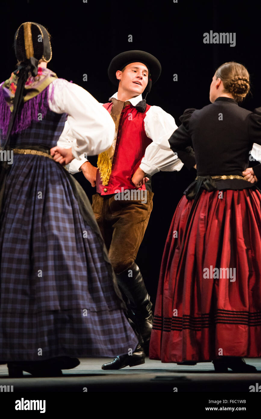 Slovenian folklore group performing at 27th Folkart International CIOFF Folklore Festival, Festival Lent, Maribor, - Stock Image