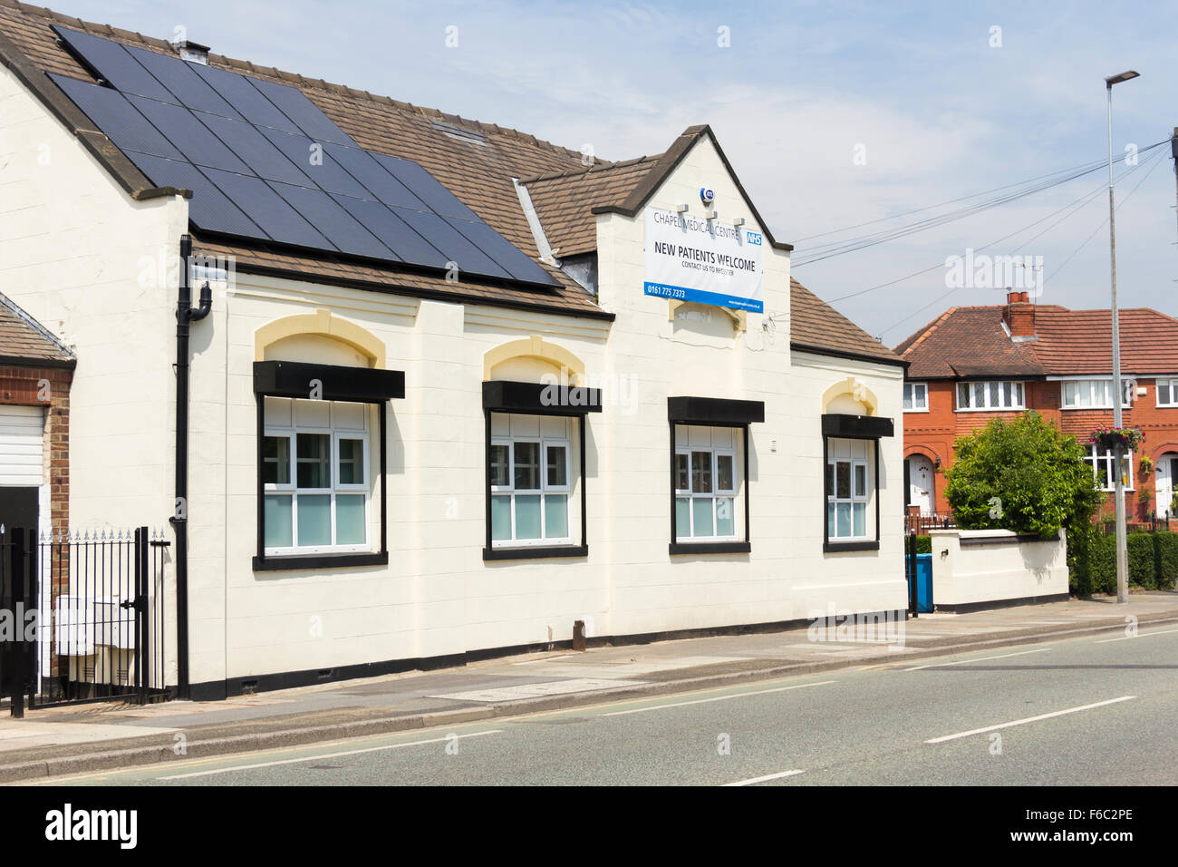 Chapel Medical Centre Irlam, Liverpool Road, Irlam, Salford, a base for a two GP general practices and community - Stock Image