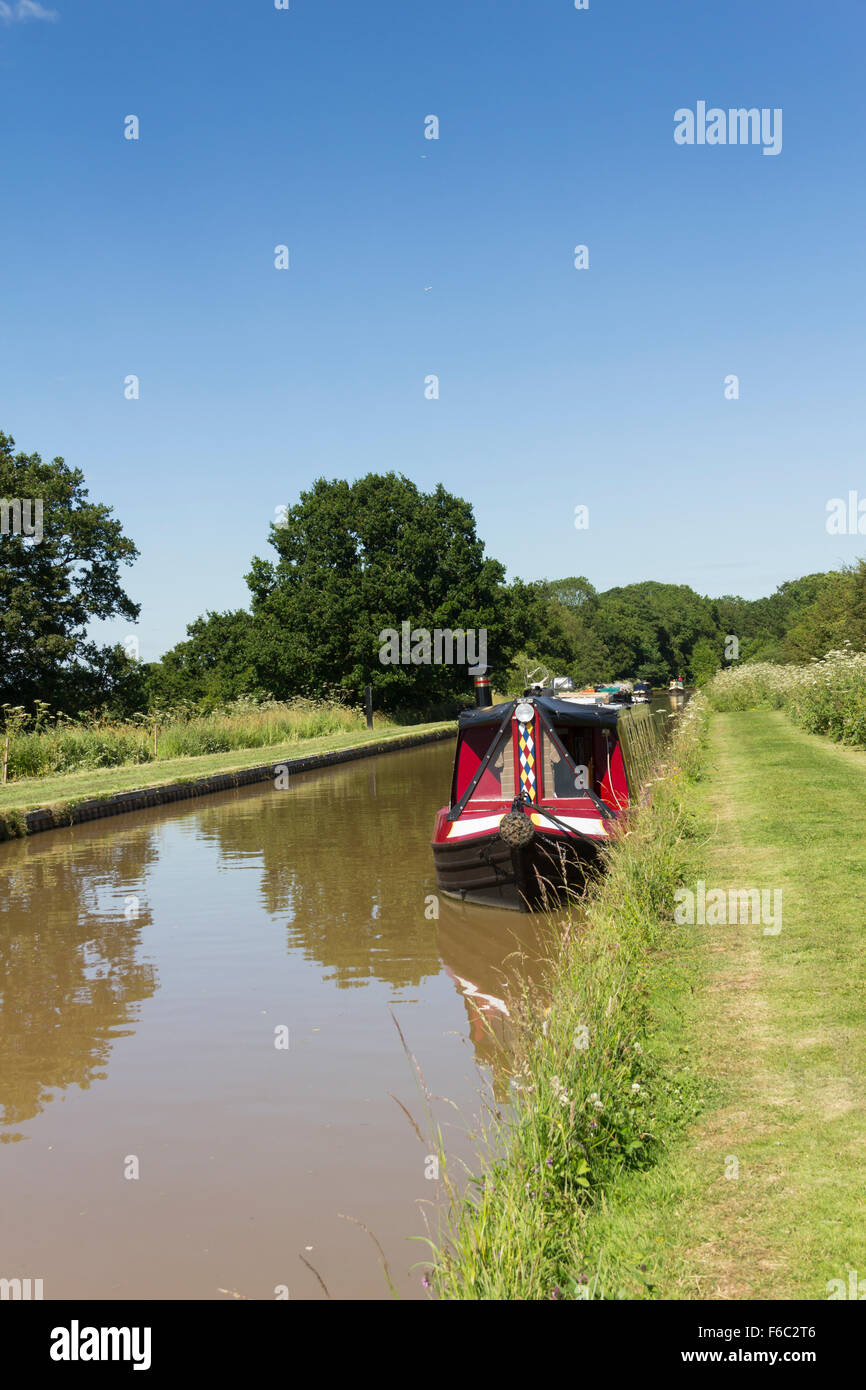 Narrowboat moored on the Shropshire Union Canal Middlewich branch near to Church Minshull marina - Stock Image