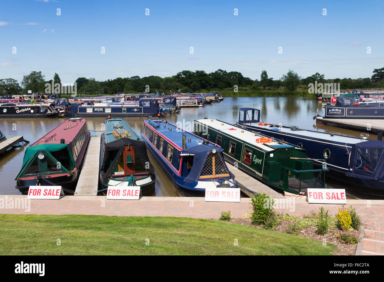 Narrowboats for sale at Church Minshull Aqueduct Marina, Cheshire. - Stock Image