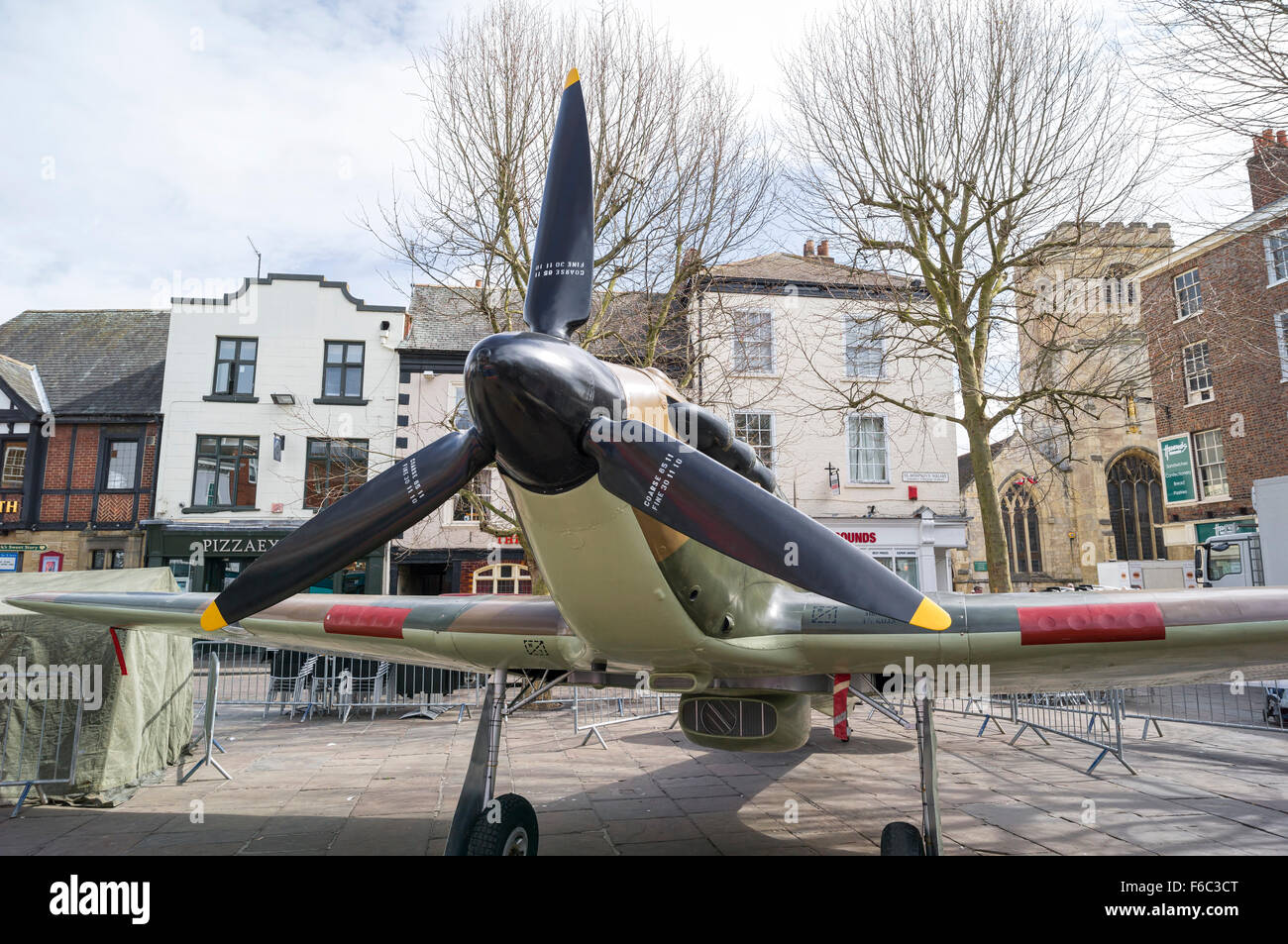 York City Hurricane Fighter From WW2 in Square in York 2013 - Stock Image