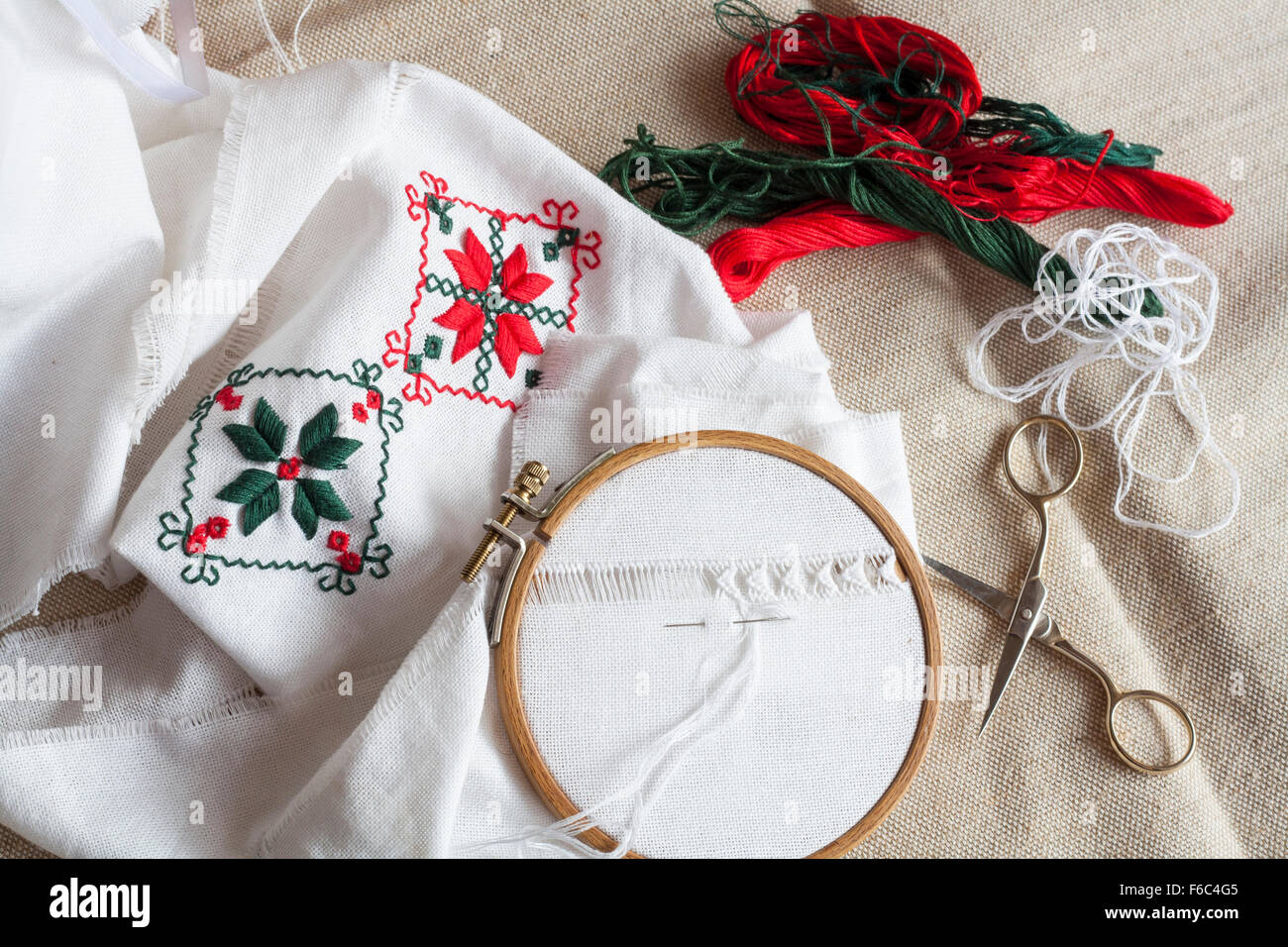 Openwork embroidery, incomplete work in progress and tools for embroidery - Stock Image