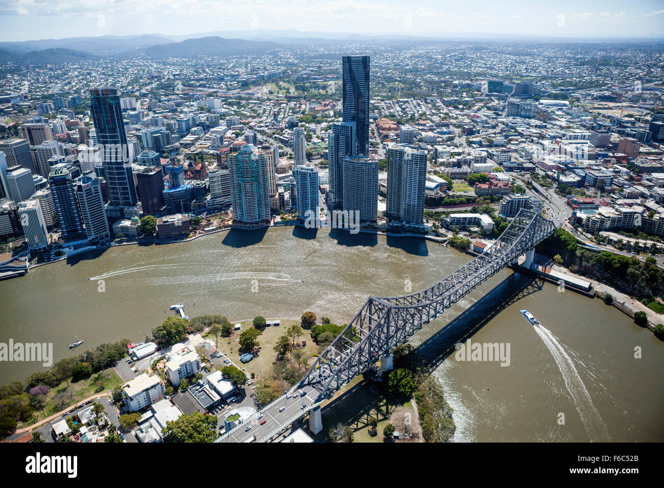Skyline of Brisbane and Story Bridge, Queensland, Australia - Stock Image