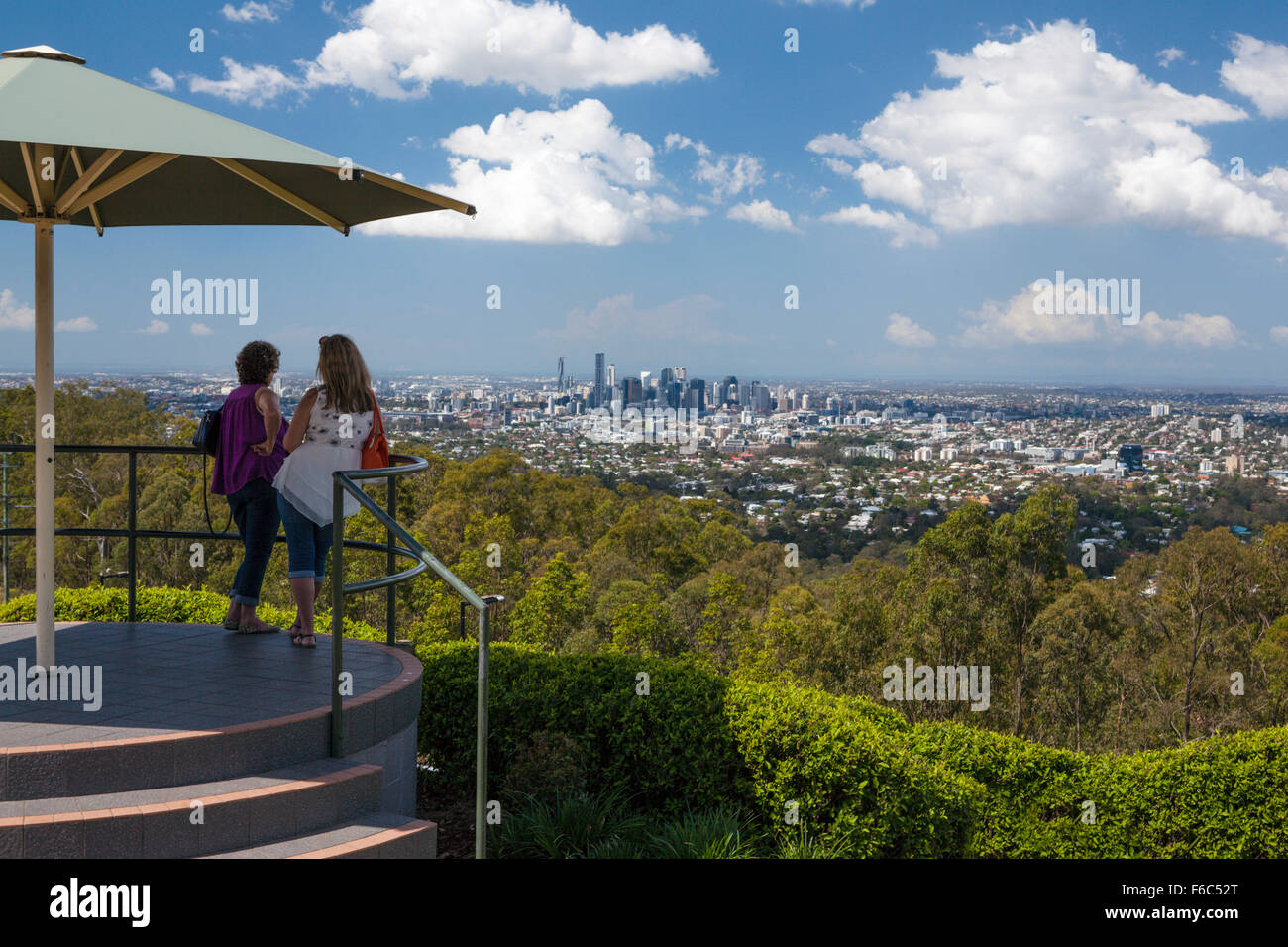 View of Mount Coot-tha Lookout over Brisbane, Queensland, Australia - Stock Image