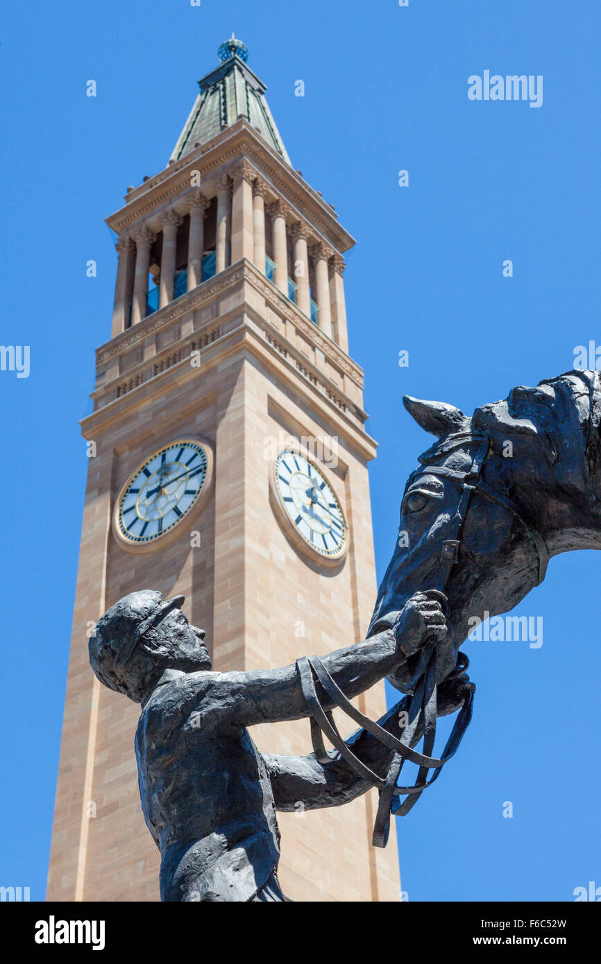 Clock Tower of Brisbane City Hall, Queensland, Australia - Stock Image
