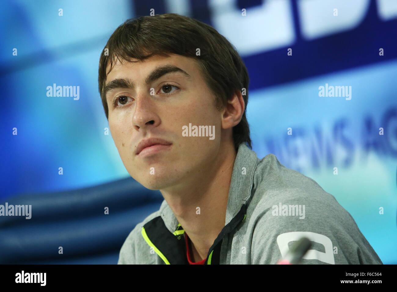 MOSCOW, RUSSIA. NOVEMBER 16, 2015. Russian athlete Sergey Shubenkov, 2015 World 110 Metres Hurdles Champion, two - Stock Image