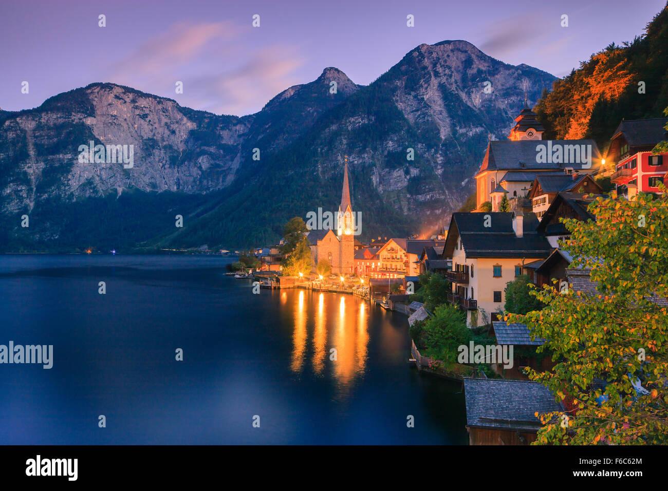 Sunrise in Hallstatt, in upper Austria is a village in the Salzkammergut, a region in Austria. - Stock Image