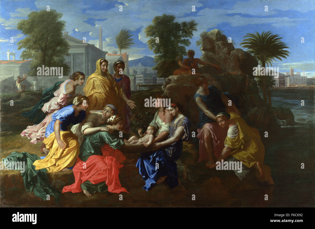 THE FINDING OF MOSES FROM THE NILE OF EGYPT PAINTING BIBLE ART REAL CANVAS PRINT