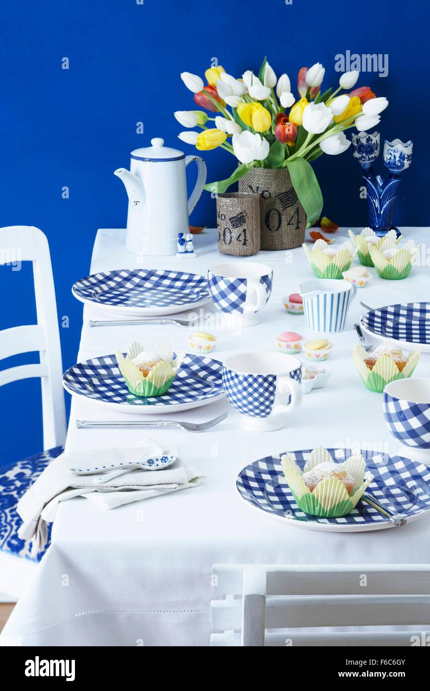 A table laid with a Dutch theme - Stock Image